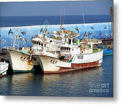 Traditional Chinese Fishing Boats Metal Print by Yali Shi
