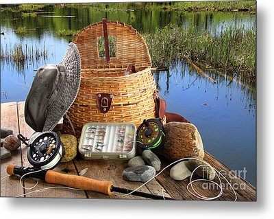 Traditional Fly-fishing Rod With Equipment  Metal Print by Sandra Cunningham