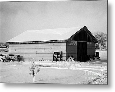 traditional wooden plank barn in rural village Forget Saskatchewan Canada Metal Print by Joe Fox