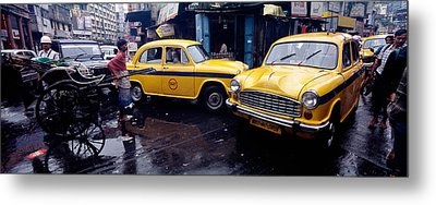 Traffic In A Street, Calcutta, West Metal Print by Panoramic Images