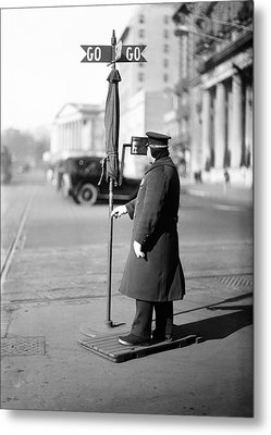 Traffic Officer Metal Print by Library Of Congress