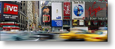 Traffic On A Street, Times Square Metal Print by Panoramic Images