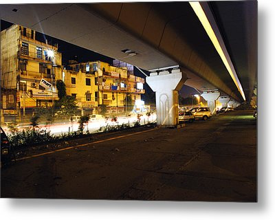 Traffic Running Beneath Flyover Metal Print by Sumit Mehndiratta