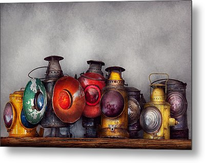 Train - A Collection Of Rail Road Lanterns  Metal Print by Mike Savad