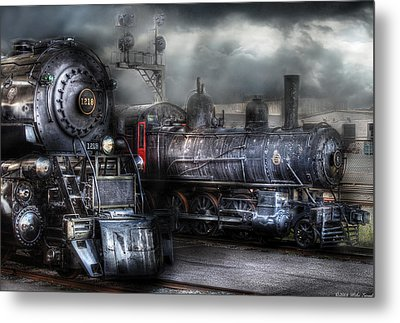 Train - Engine - 1218 - Waiting For Departure Metal Print by Mike Savad