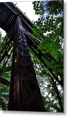 Train Trestle In The Woods Metal Print by Michelle Calkins