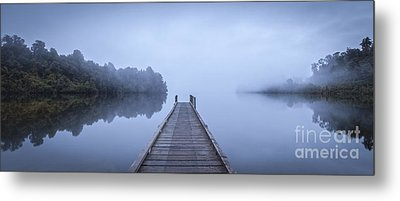 Tranquil Lake And Misty Dawn Panorama Metal Print by Colin and Linda McKie
