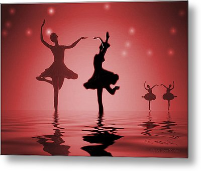 Tranquil Persuasion In Red Metal Print by Joyce Dickens