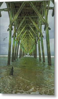 Tranquil Topsail Surf City Pier Metal Print by Betsy Knapp