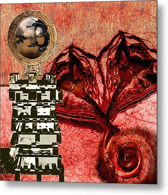 Transfusion Into A Wooden Heart Metal Print by Maria Jesus Hernandez