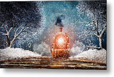 Traveling On Winters Night Metal Print by Bob Orsillo