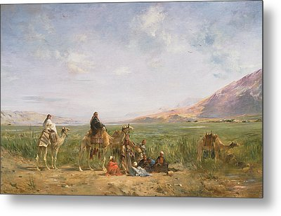Travellers Resting At An Oasis Metal Print by Eugene Fromentin