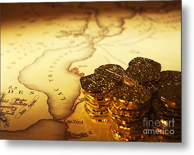 Treasure Map And Doubloons Metal Print by Colin and Linda McKie