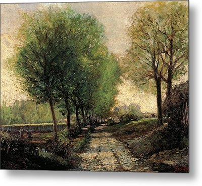 Tree-lined Avenue In A Small Town Metal Print by Alfred Sisley