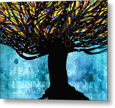 Tree Of Life Blue And Yellow Metal Print by Ann Powell
