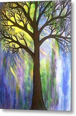 Tree On Blue  Metal Print by Christine Chase