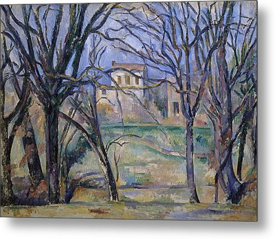 Trees And Houses, 1885-86 Metal Print by Paul Cezanne