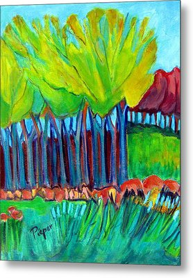 Trees And Meadow Metal Print by Betty Pieper