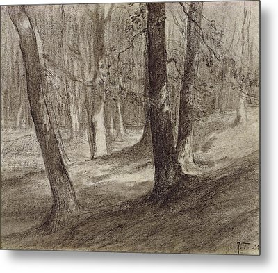 Trees In A Forest Metal Print by Jean-Francois Millet