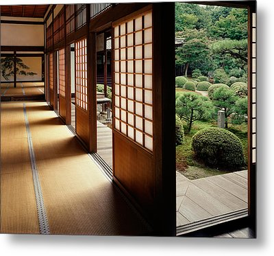 Trees In Front Of A Temple, Zuishin Metal Print by Panoramic Images