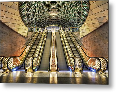 Triangeln Station Escalators Metal Print by EXparte SE
