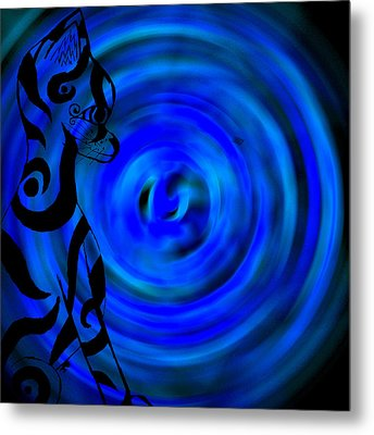 Tribal Cat On Blue Swirl Metal Print by Josephine Ring