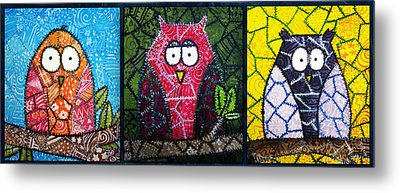 Trio Of Patchwork Owls Metal Print by Stacey Clarke
