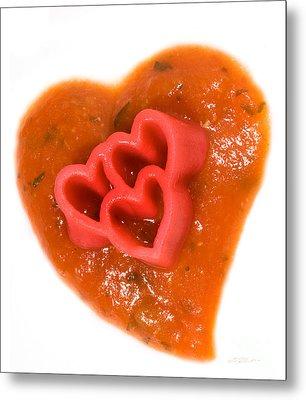 Tripple Red Pasta Hearts On Tomato Sauce Metal Print by Iris Richardson