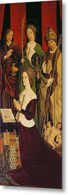 Triptych Of Moses And The Burning Bush, Right Panel Depicting Jeanne De Laval D.1498 With St. John Metal Print by Nicolas Froment