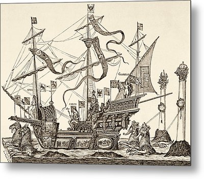 Triumphal Vessel Metal Print by French School