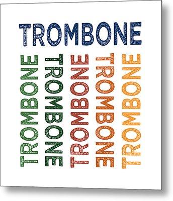 Trombone Cute Colorful Metal Print by Flo Karp