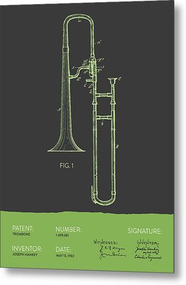 Trombone Patent From 1902 - Modern Gray Green Metal Print by Aged Pixel