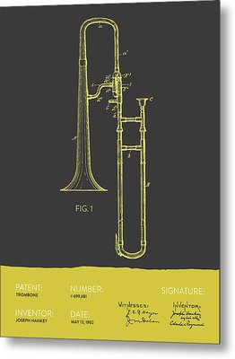 Trombone Patent From 1902 - Modern Gray Yellow Metal Print by Aged Pixel