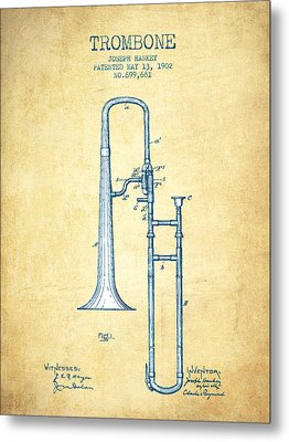 Trombone Patent From 1902 - Vintage Paper Metal Print by Aged Pixel