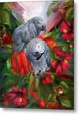 Tropic Spirits - African Greys Metal Print by Carol Cavalaris