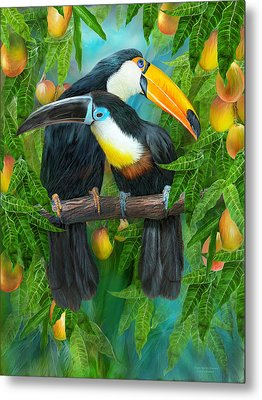 Tropic Spirits - Toucans Metal Print by Carol Cavalaris