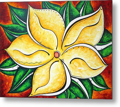 Tropical Abstract Pop Art Original Plumeria Flower Painting Pop Art Tropical Passion By Madart Metal Print by Megan Duncanson