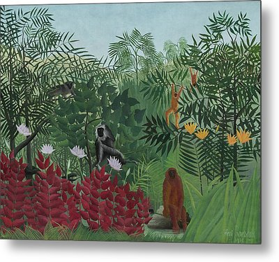 Tropical Forest With Monkeys Metal Print by Henri J F Rousseau