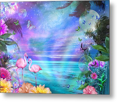 Tropical Moonlight Flamingos Metal Print by Alixandra Mullins