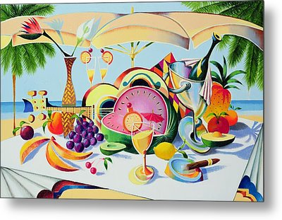 Tropical Still Life For A Cuban Cubist Metal Print by Andrew Hewkin