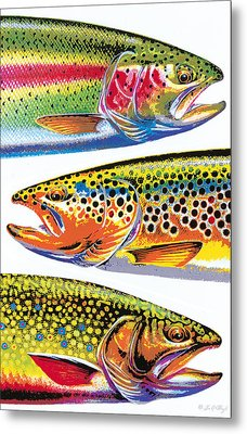 Trout Abstraction Metal Print by JQ Licensing