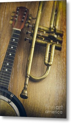 Trumpet And Banjo Metal Print by Carlos Caetano