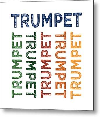 Trumpet Cute Colorful Metal Print by Flo Karp