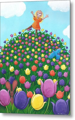 Tulip Time Painting Metal Print by Christy Beckwith
