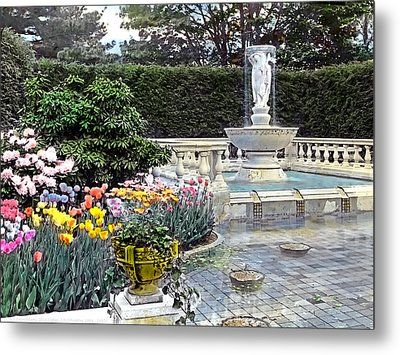 Tulips And Fountain Metal Print by Terry Reynoldson