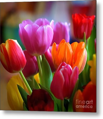 Tulips Light Metal Print by Lutz Baar