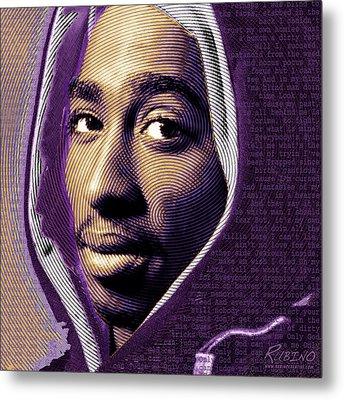 Tupac Shakur And Lyrics Metal Print by Tony Rubino