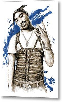 Tupac Shakur Colour Drawing Art Poster Metal Print by Kim Wang
