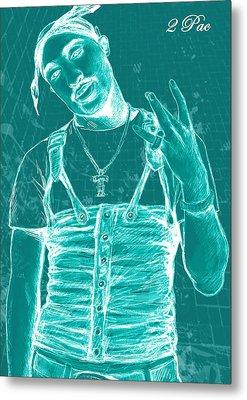 Tupac Shakur Long Stylised Drawing Art Poster Metal Print by Kim Wang