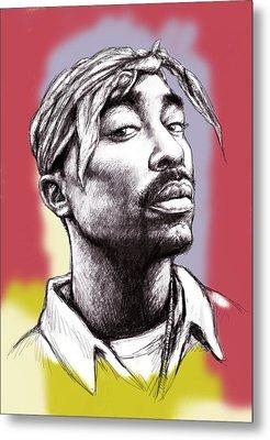 Tupac Shakur Morden Art Drawing Portrait Poster Metal Print by Kim Wang